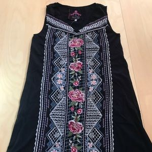 NWT Johnny Was Floral Embroidered Black Dress